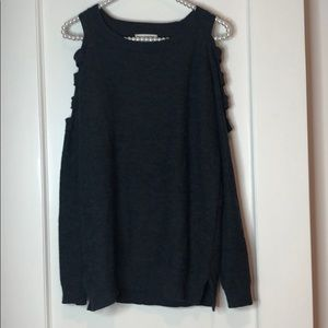 Zenana Outfitters Cold Shoulder Grey Sweater